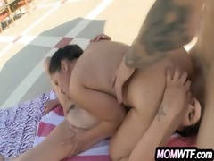 asian milf wild three-some with sexy daughter