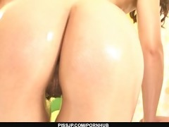 oil covered risa murakami is a sexy target for