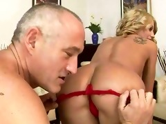 old chap fucking and licking young girl