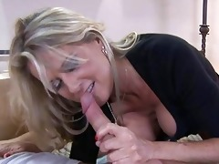 golden-haired milf with large tits sucks younger