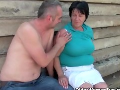 ugly grandma with 1 inch nipps drilled outdoors