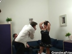 mature fatty acquires nailed by two jocks
