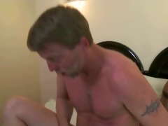 dad takes large dark cock in his ass