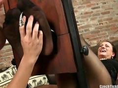 older sasha ticklish in pantyhose