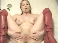 chubby british mature in boots smokes and