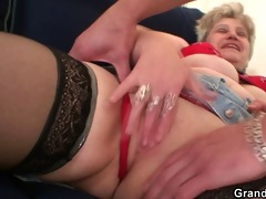 grandma in darksome nylons sucks and rides at