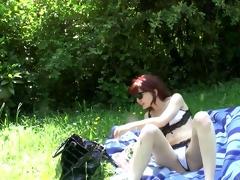 old men fucking youthful slut in a meadow