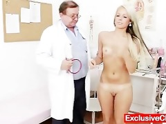 old doctor checks young blonde girl venus wet