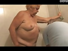 young cutie washing old woman