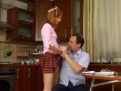 older dude takes this legal age teenager redhead