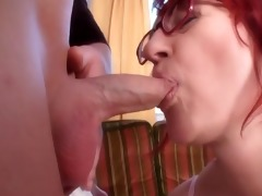 redhead-bbw-granny with glasses drilled by