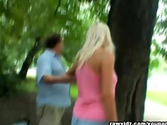 old fart copulates blond teen at the park