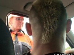 two studs pick up old slut and screw her hard