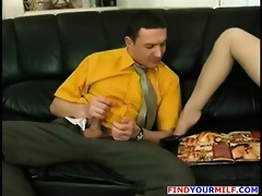 older excited cleaning lady engulf plump cock
