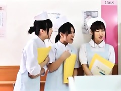 cute asian nurse receives her tits rubbed part1