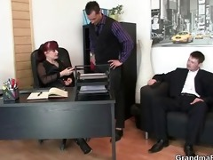 two lucky men bang business woman