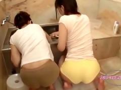 lesbian in moist raiment rubbed in bathroom