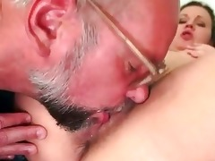 old man and curly youthful girl pissing and