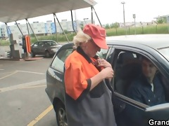 granny is picked up and fucked in the fields