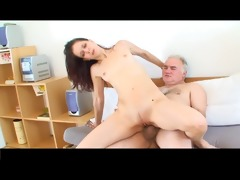 small tittted gal receives screwed by granddad