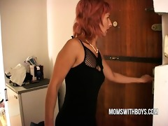 stepmom helps young lad getting hard