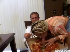 holly halston with pizza