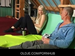shy oldman enticed and screwed by bold hussy