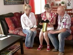 old mamma and dad entice and bang their sons gf