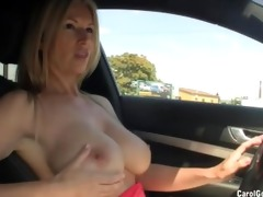 busty floozy drives around