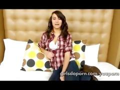 18 yr old cute amateur gal makes clip