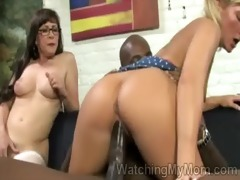 blond hottie mounts a massive black dong in