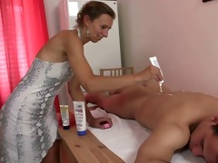 massage leads to blowjob and ramrod riding