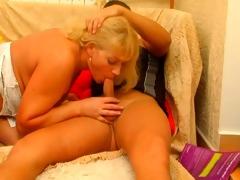 redhead mom-whore in white nylons &; 2 boys