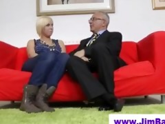 blonde in stockings and old man