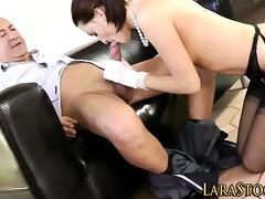 stockings clad brit rides cock