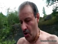 superb babe rides grandpa&#039 s cock in