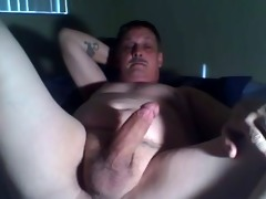 dad home alone jerking his cock