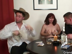 old whore in nylons takes two dongs