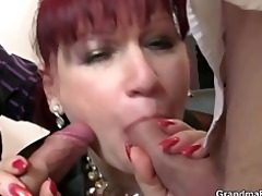 mature office whore enjoys two ramrods