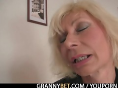 aged blonde takes it is from behind
