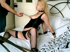 british blonde sub whore manacled up and used