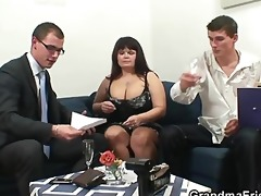 two dudes bang biggest titted mature