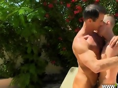 gay guys dad poolside prick loving
