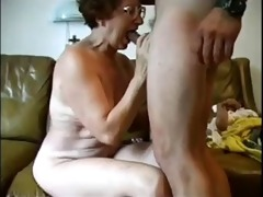 granny engulfing weenie and taking load face