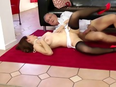 young brit in nylons sixtynine with old sir