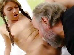 anna has her shaved love tunnel eaten out by her