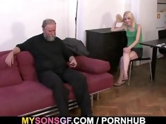 horny daddy uses sons girlfriend