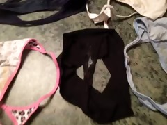 cumming on messy panties and belts of sister in