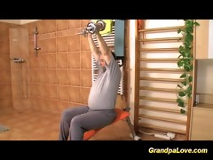 grandpa fucking a shy but busty babe at the gym