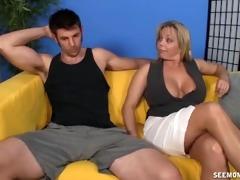 milf engulfing and tit fuck